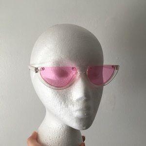 Retro vintage 2000s clear sunglasses pink lenses